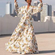 Vestido sexy para as mulheres 2020 vestidos maxi impressão profunda v casual manga comprida com cinto robe vestido longo elegante puff manga vestidos