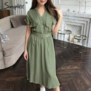 Image 4 - Simplee V neck solid women dress Vintage elegant button belt midi summer dress Casual streetwear office ladies pockets dress