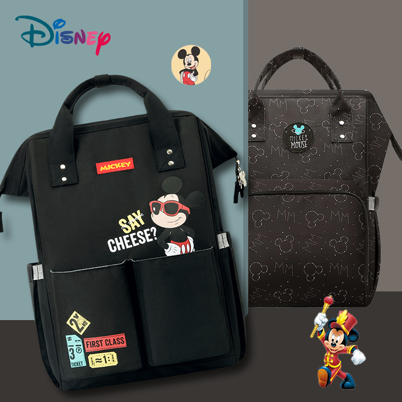 Disney Diaper Bag Backpack With USB Baby Bag Organizer Nappy Bag Large Capacity Mummy Travel Handbag Classic Black Mickey Minnie