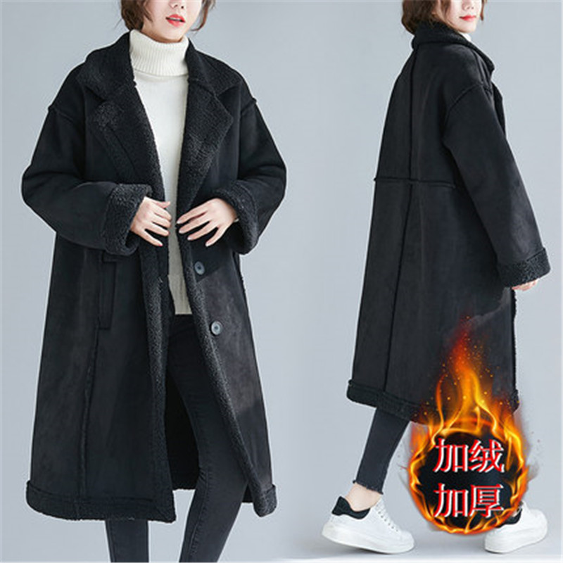 Fashion 2020 Winter Long Parkas Coats Plus Size Warm Jackets Women's Clothing Loose Plus Velvet Thick Lamb Fur Woolen Coat B09