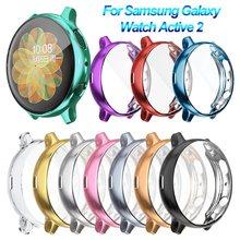 Ultra fino galvaniza tpu caso de relógio proteção capa completa protetor de tela para samsung galaxy assista ativo 2 40 44mm