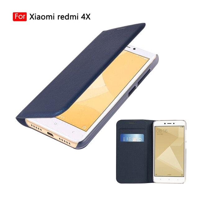 Flip cüzdan deri telefon kılıfı için Xiaomi Redmi 4X kapak Xiomi redmi4x 4 X küresel sürüm kredi kartı ile cep yuvası kapakları