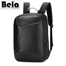 BelaBolso Patchwork Anti Theft Backpack Man USB Charging Laptop Backpack Business Male Travel Teenage Backpack Fashion PU HMB694