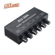 Mixeur stéréo audio (2 entrées 4 sorties) Push quatre écouteurs ou amplificateurs dalimentation externe contrôle indépendant du Volume DC5 19V