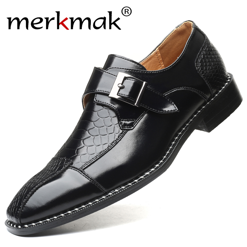 Merkmak Crocodile Pattern Men Business Dress Shoes Buckle Formal Pointed Toe  Shoes Big Size Male Party Wedding Fashion Footwear