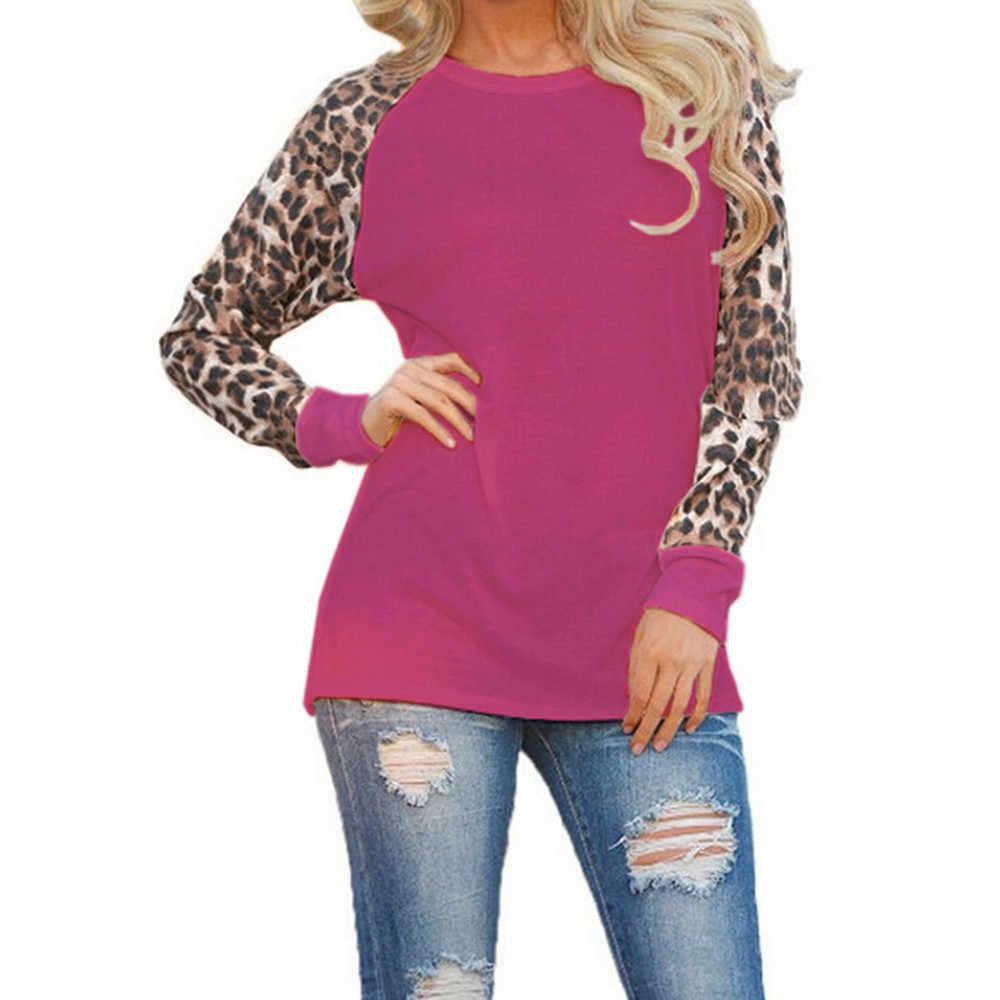 Hombro superior de las mujeres ropa mujer leopardo Blusa de manga larga las señoras de moda camisa Oversize Tops рубашки женские