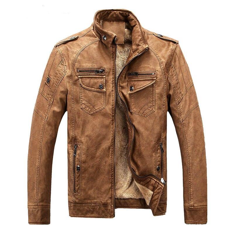 Washed Vintage Leather Jacket Men Winter/Autumn Warm Soft Brown Leather Jacket Coat Motorcycle Jacket Plus Size M-3XL