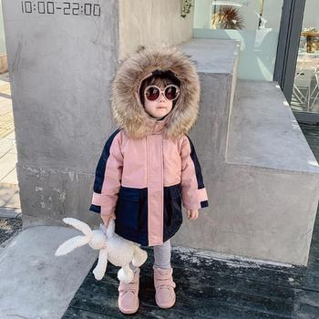 Boy and girls real fur collar down jacket winter new thicken high quality 94% white duck down coats children outerwear kids tops