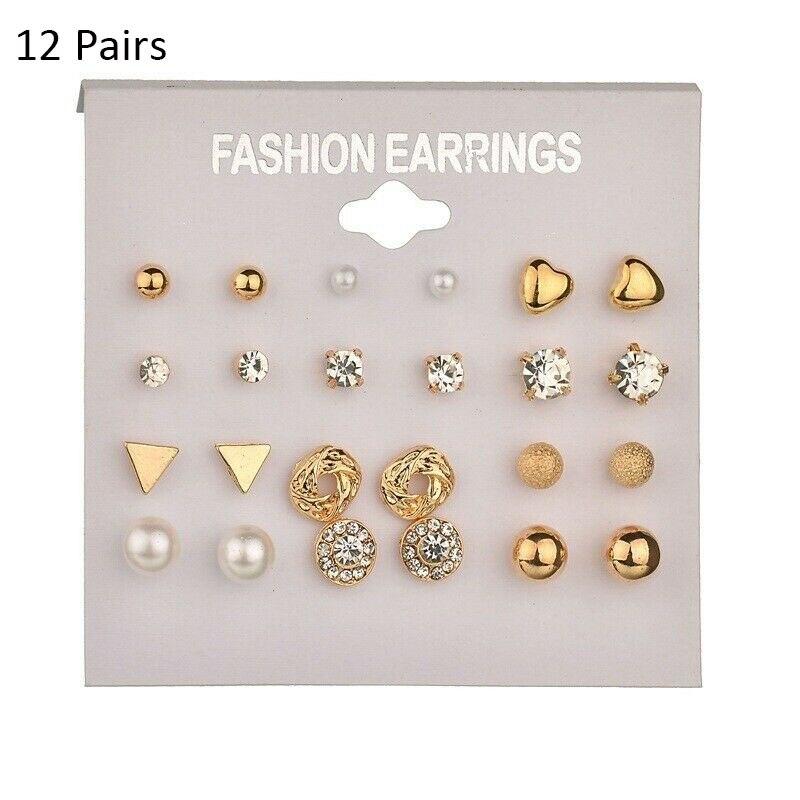 12/ 9 Pairs/Set Women's Pearl Flower Crystal Studs Earrings Girls Elegant Rose Flower Heart Ear Jewelry Gift