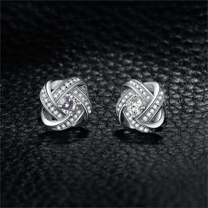 Image 2 - JewelryPalace אהבת קשר CZ Stud עגילי 925 סטרלינג עגילי כסף עבור נשים בנות קוריאני עגילי תכשיטים 2020