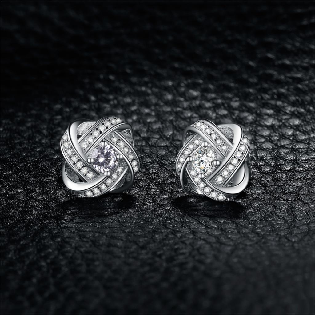 Image 2 - Jewelrypalace 愛ノット cz スタッドピアス 925 スターリングシルバーイヤリング女性女の子韓国のイヤリングファッションジュエリー 2020イヤリング   -