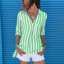 2019 Autumn Casual Loose Blouse Shirt Women Slim Striped V Neck  Long Sleeve Tops Female Shirts Plus Size все цены