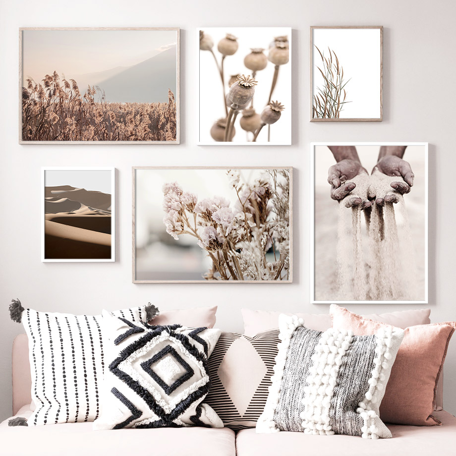 Reed Wild Plant Sand Nordic Posters And Prints Wall Art Canvas Painting Wall Pictures For Living Room Scandinavian Home Decor|Painting & Calligraphy| - AliExpress