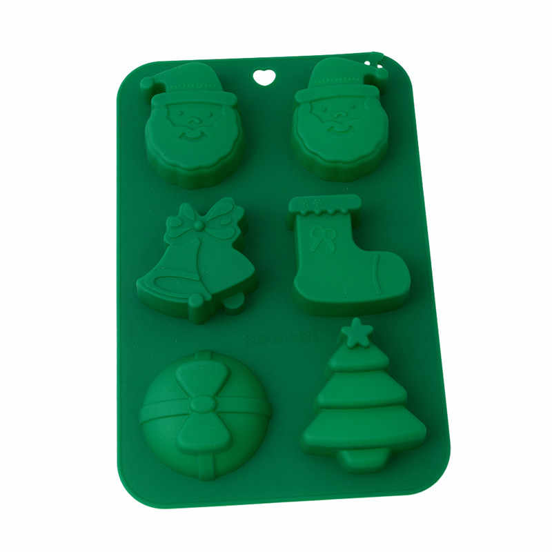 2019 Kitchen Silicone Cake Mold Christmas Santa Claus Socks Bell Bowtie Tree Form Baking Cookie Cutter Cake Decorating Tools