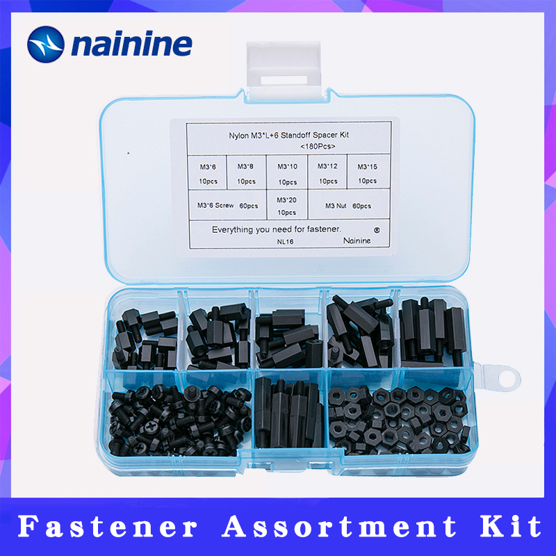 180Pcs/set M2/2.5/M3*L+6mm M-F Black Spacing Screw Plastic For PCB Motherboard Fixed Nylon Standoff Spacer Assorted Kit NL16