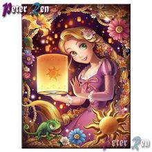 5d pintura diamante ponto cruz rapunzel menina com animal diy quadrado completo \ redondo bordado strass imagem menina presente do feriado