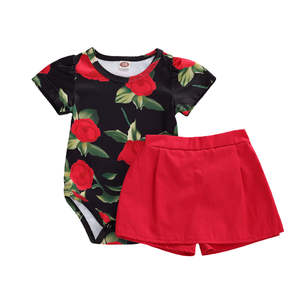 Jumpsuit Shorts-Set Newborn Baby-Girls Romper Infant-Rose-Printing Solid with Round-Collar