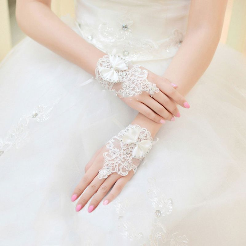 Wholesale Summer Wedding Dress Gloves Lace Bow Short Lace-up Tie Glove Fingerless Bride Bridal Clothing Accessories