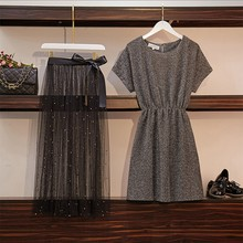 Women Cotton Shirt Top + Mesh Mini Skirt Suit Bow Summer Elegant Women Long Dres