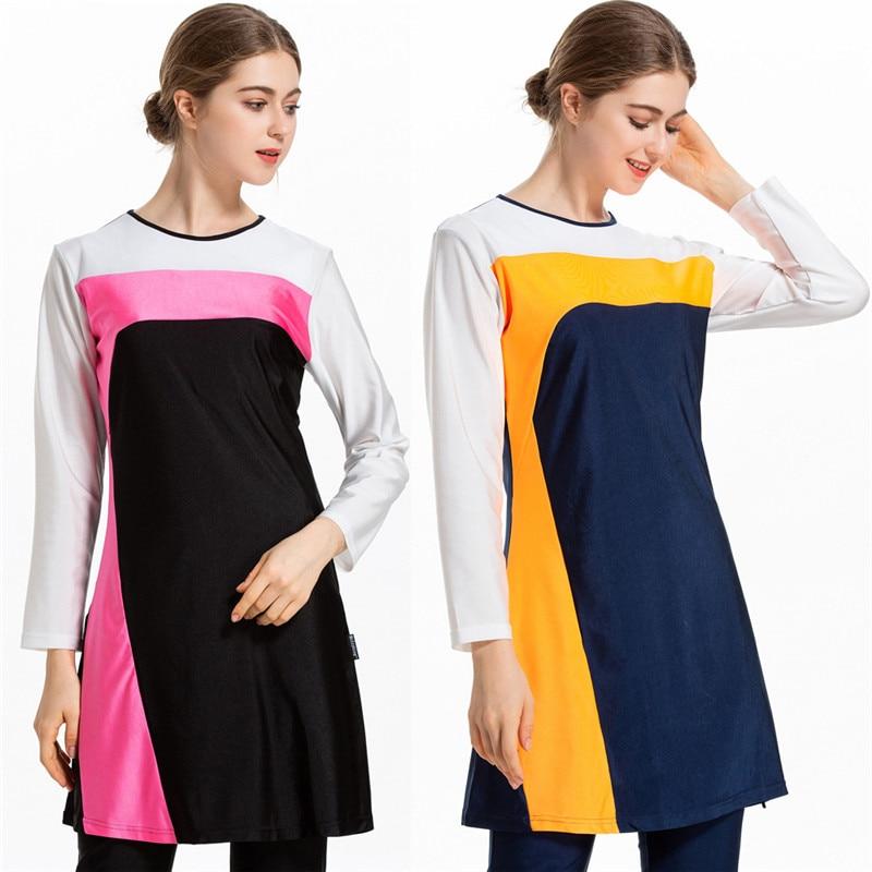 Three piece Burkini Suits 2019 Sunscreen Muslim Swimming Suit For Women Sport Burkinis Islamic Swimwear With Pad Bourkini Hasema in Muslim Swimwear from Sports Entertainment