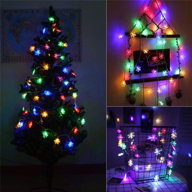 LED Snowflake String Lights