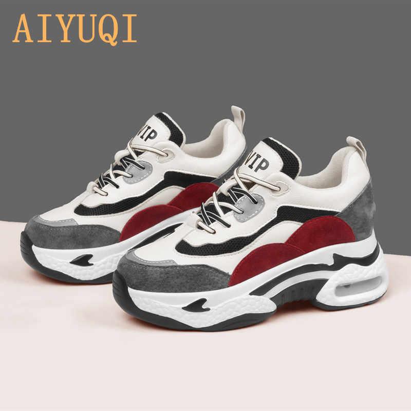 AIYUQI ayakkabı kadın hakiki deri kalın alt yuvarlak kafa kabartmak platformu Sneakers 2020 yeni moda Sneakers kadın kış