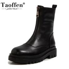 Taoffen rozmiar 34-43 kobiety prawdziwe skórzane średnio wysokie buty z cholewami buty z zaokrąglonym czubkiem zimowe buty ocieplane moda damska zamek błyskawiczny z przodu obuwie