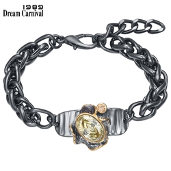 DreamCarnival1989 Barroco Dazzling Big Zircon Bracelet for Women Thick Cuban Weaving Chain Thanks Giving GIft Hot Selling WB1241