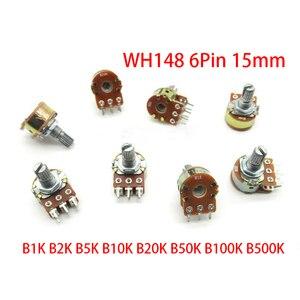2pcs B1K B2K B5K B10K B20K B50K B100K B250K B500K B1M WH148 6Pin 15mm Potentiometer 1K 2K 5K 10K 20K 50K 100K 250K 500K 1M