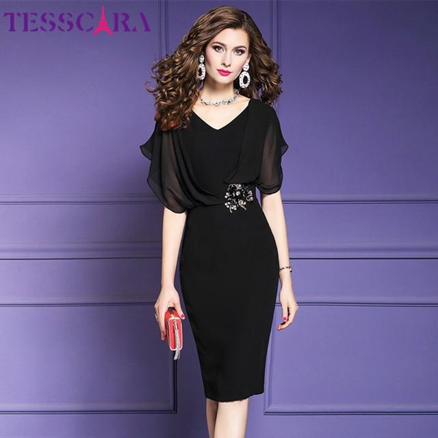 TESSCARA נשים קיץ אלגנטי משרד שמלת Festa נשי אופנה עיפרון המפלגה Robe Femme Vintage אימפריה מעצב שיפון Vestidos