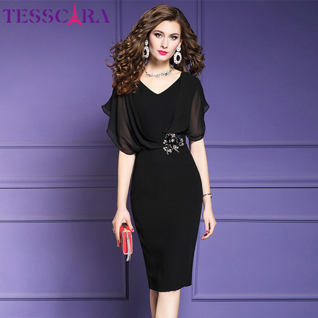 TESSCARA elegante vestido de oficina de verano para mujer, moda femenina, vestido de fiesta tipo lápiz, Estilo Vintage, de gasa, diseño Imperio