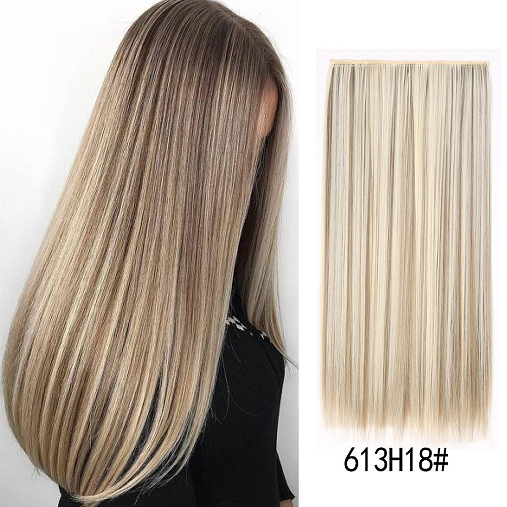 24inch 60cm Long Straight Clip in one Piece Synthetic Hair Extension 5 Clips False Blonde Hair Brown Black Hair Pieces for Women