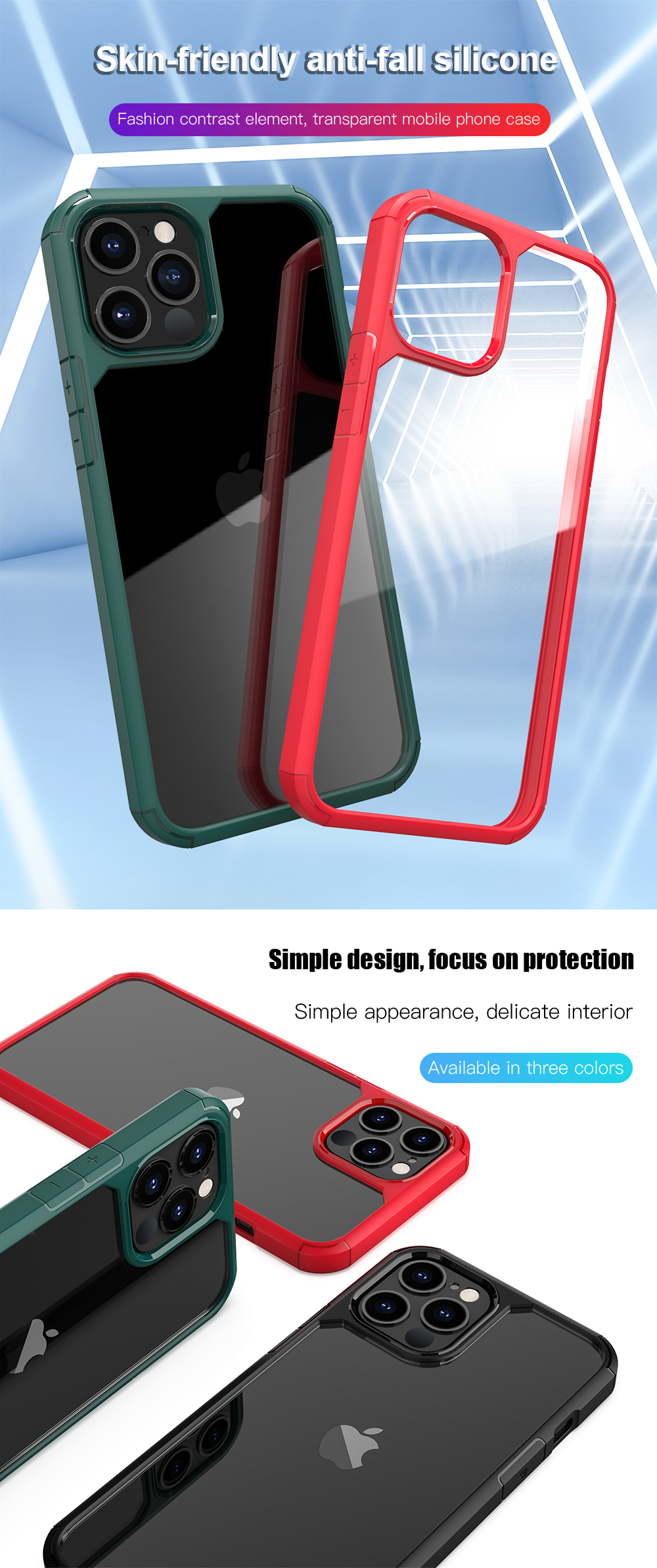 Fashion Transparent Shockproof Silicone Clear Case for iPhone 12 Pro Max
