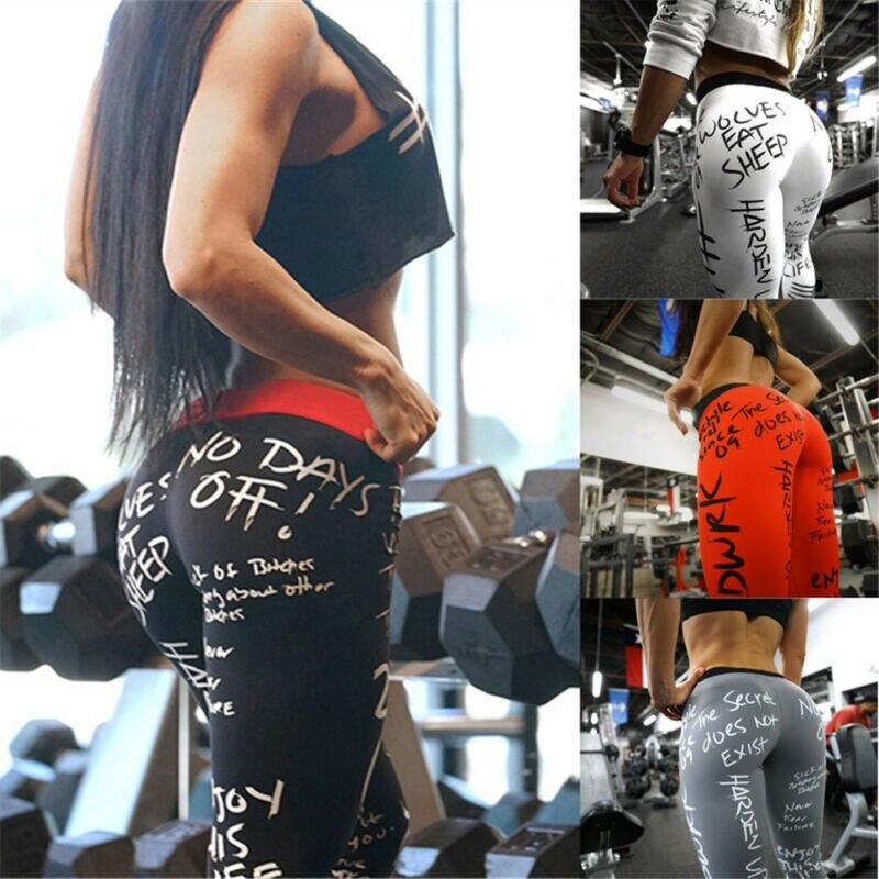 New Letter Print Leggings Women Slim Fitness Leggings High Waist Elastic Workout Leggings For Gym Sport Running