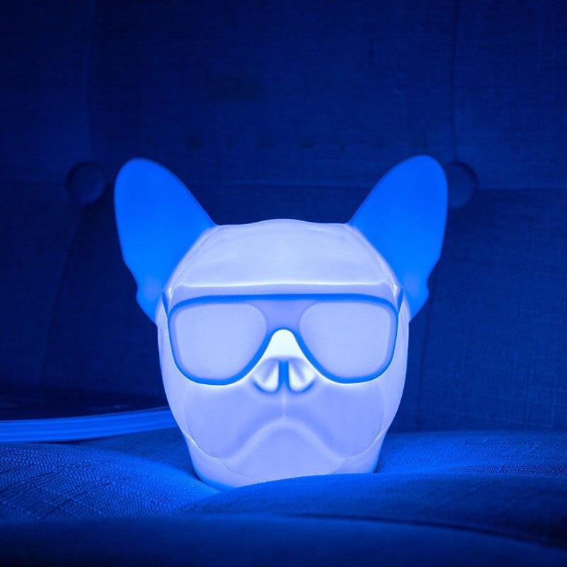 BRELONG USB Charging Night Light Dog Head Bulldog RGB Atmospheric Light Touch Sound Control Sensor Switch White