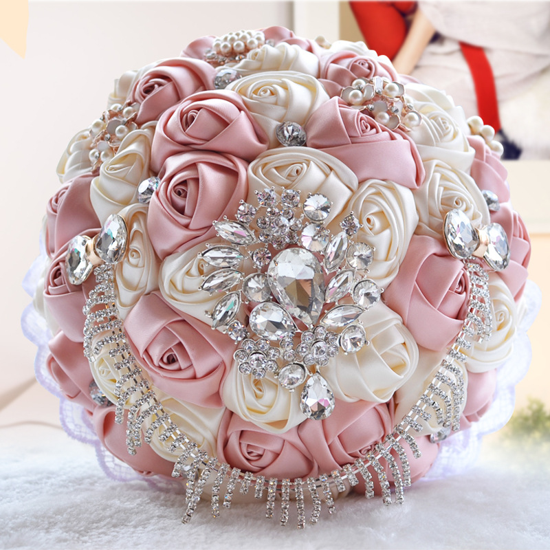 Bouquet Sposa Online.Bride Flower Bouquet Bridal Blingbling Crystal Satin Rose Wedding