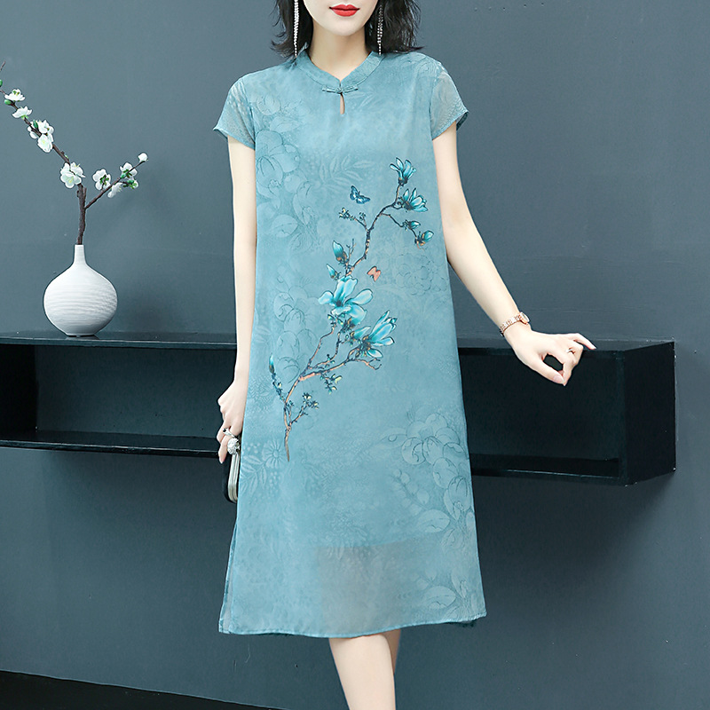 Photo Shoot Dress Summer Wear Nobility Western Style 2019 New Style Kuotaitai Cheongsam Middle-aged Women's Spring Skirt Thin