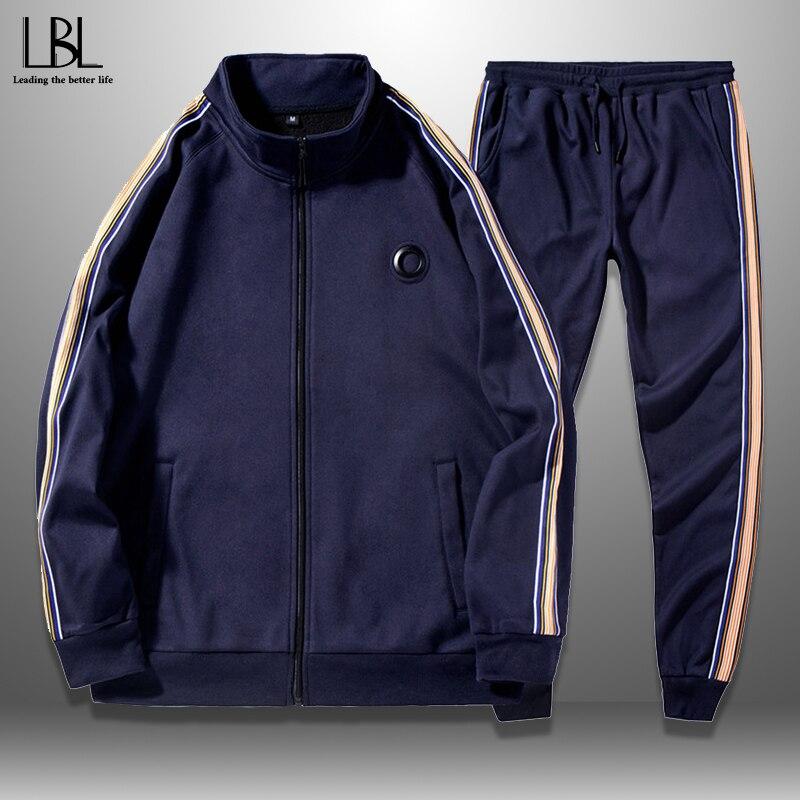 New Spring Men's Tracksuit Casual Zipper Jacket + Pants 2 Piece Track Suit Male Outwear Autumn Men's Sportswear Set Side Stripe
