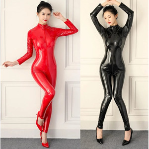 Women Sexy Faux Leather Jumpsuit PVC Latex Catsuit Double Zipper Open Crotch Bodysuit Stretch Bodystocking Erotic Club Costumes