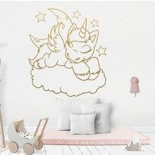 Милая виниловая наклейка на стену с изображением единорога и