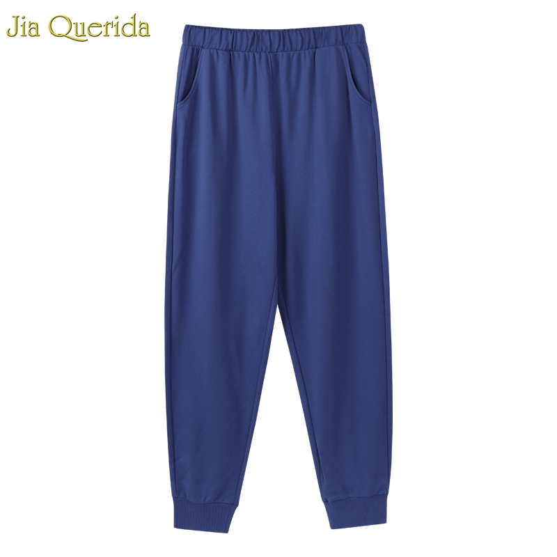 Sporty Lounge Pants Men 100% Pure Cotton Quality Night Wear Royal Blue Elastic Waist Ankle-tied Trousers With Pockets Long Pants