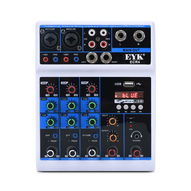 EYK ECR4 Portable Audio Mixer with Sound card 4 Channel Stereo Mixing Console Bluetooth USB for PC Record Playback Webcast Party