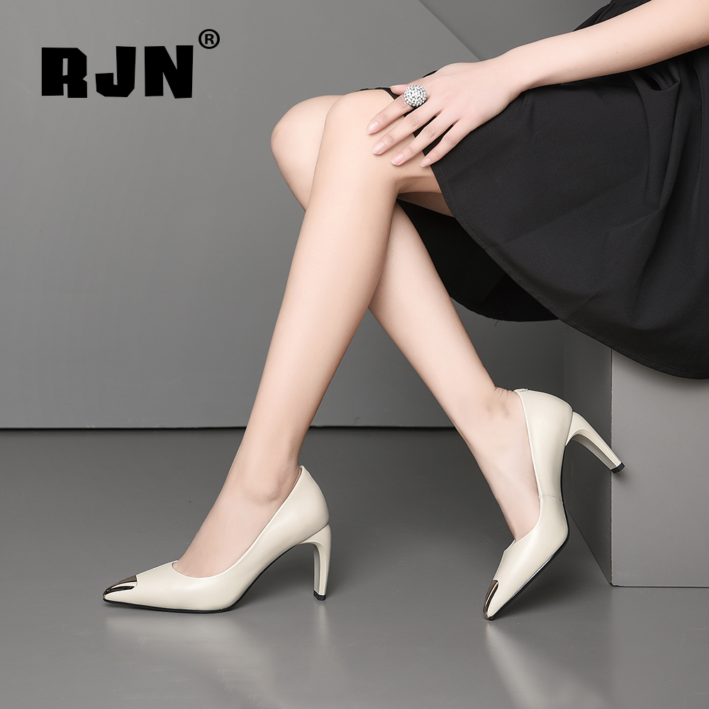 Buy RJN Fashion Matel Decoration Pumps Cow Leather Pointed Toe Strange Style Heel Slip-On Shoes Shallow Women Pumps For Work RO52