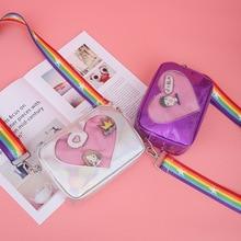 2019 Cute Transparent Love Heart Shape Ita Bag PU Leather Messenger  Kids Kawaii Crossbody Case Teenage Clear