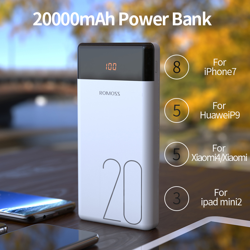 20000mAh ROMOSS LT20 Power Bank Dual USB Powerbank External Battery With LED Display Fast Portable Charger For Xiaomi For iPhone 2