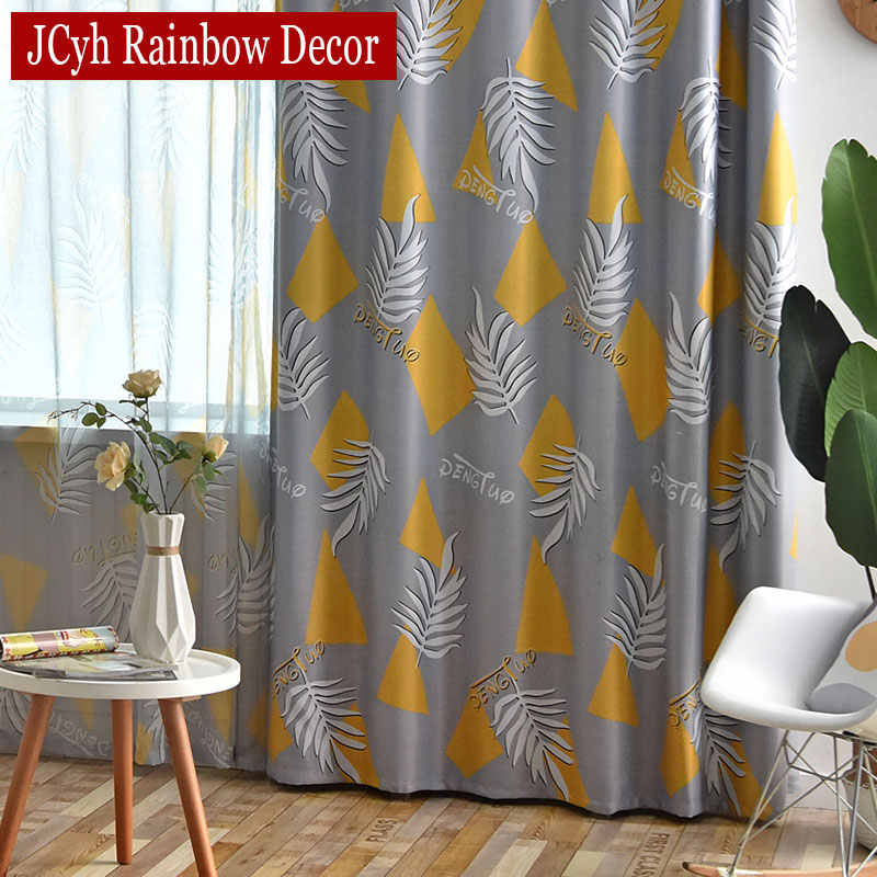 Gray Printed Leaves Curtains For Living Room Plant Modern Bedroom Curtains Window Treatment Drapes Tend Rideau Occultant Gordijn