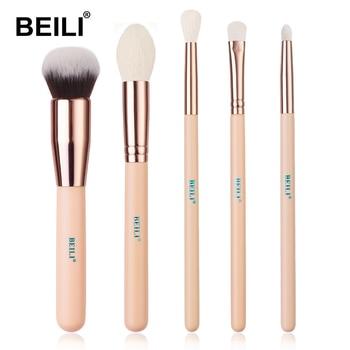 BEILI Matte Pink Makeup Brushes Set goat hair Powder Foundation Concealer Blush Eyeshadow rose gold natural hair Make up brushes 18
