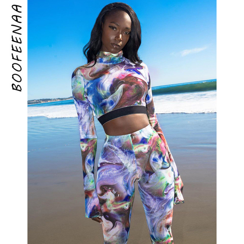 BOOFEENAA 2020 Two Piece Set Tracksuit Sports Fitness 2 Piece Women Matching Sets Sexy Club Outfits Moda Mujer 2020 C16-AE68