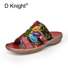 Original 2020 Summer New Women Slippers Ethnic Soft Female Genuine Leather Slides Footwear Bohemian Comfortable Sandals Ladies(China)