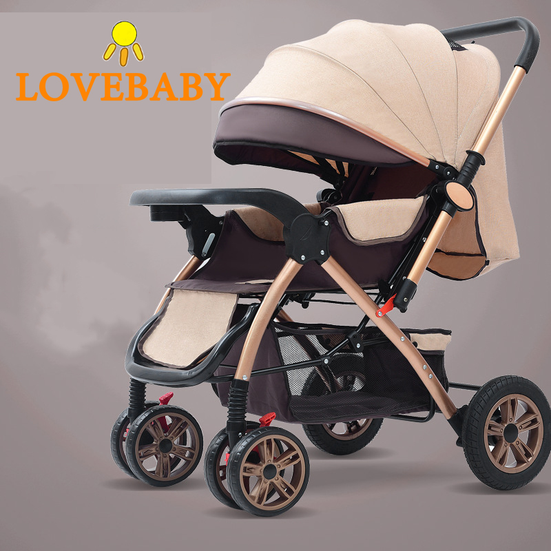Baby Stroller 3 In1 High View Pram Landscape Baby Carriage 360 Rotation Travel System 0-3 Y Lightweight 2 In 1 Baby Strollers